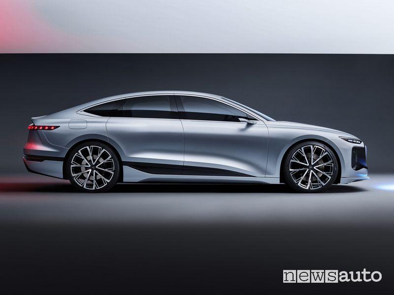 Vista laterale Audi A6 e-tron concept