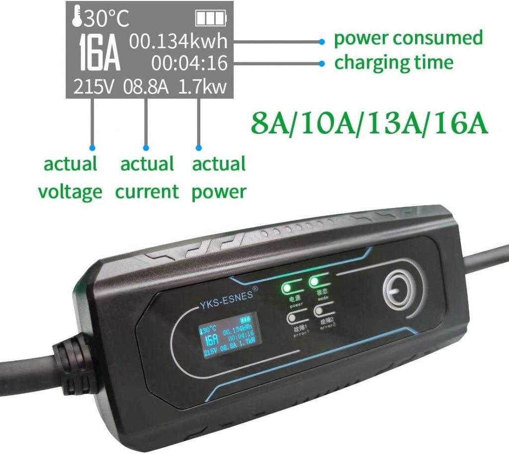 Caricatore portatile per auto elettrica da casa regolabile su 4 livelli di potenza 8A, 10A, 13A, 16A