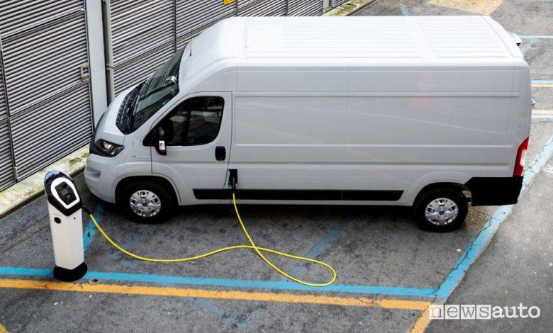 Fiat e-Ducato furgone elettrico in ricarica