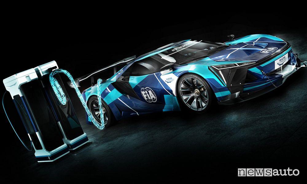 Auto elettrica da corsa GT Electric ricarica rapida fino a 700 kW