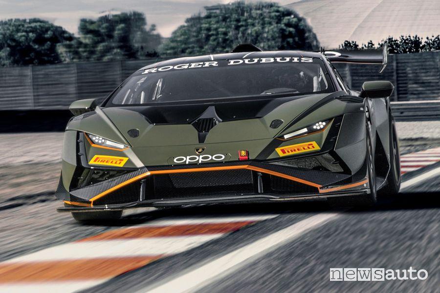 Vista anteriore Lamborghini Huracán Super Trofeo EVO2 in pista