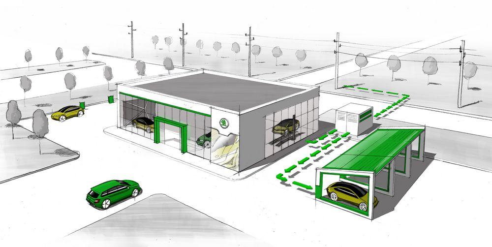 Batterie al litio usate e riciclate per illuminare i concessionari Skoda
