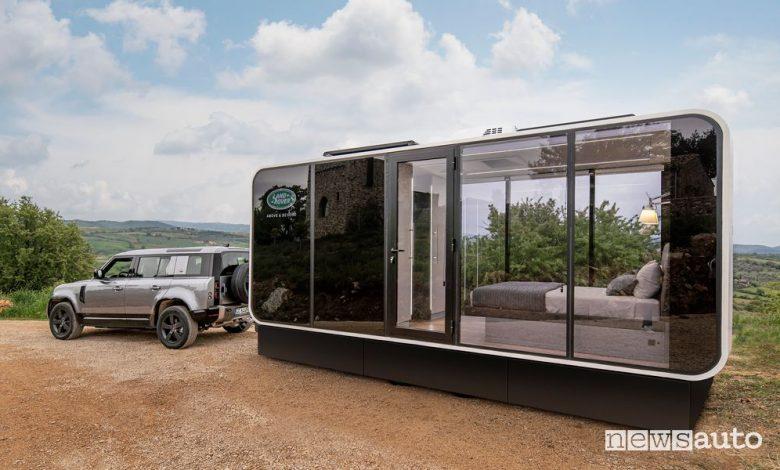 Vista laterale Land Rover Defender Eco Home