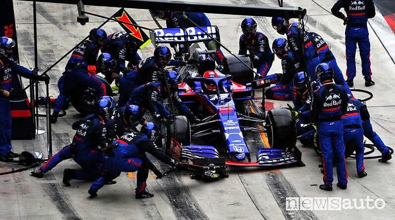 Auto da corsa F1  Red Bull al Box durante un pit stop