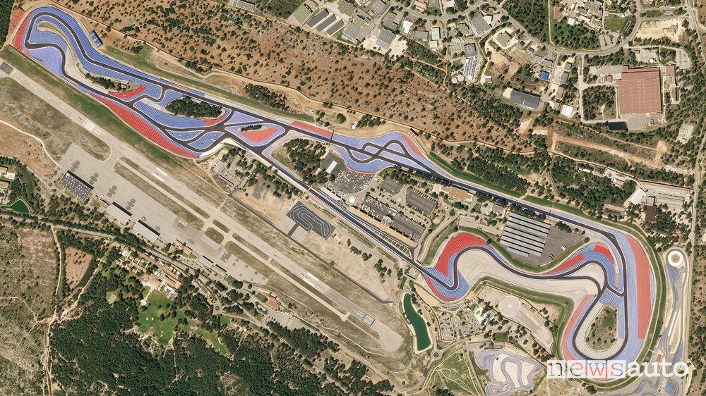 Vista satellitare dell'attuale conformazione della pista di Paul Ricard a Le Castellet