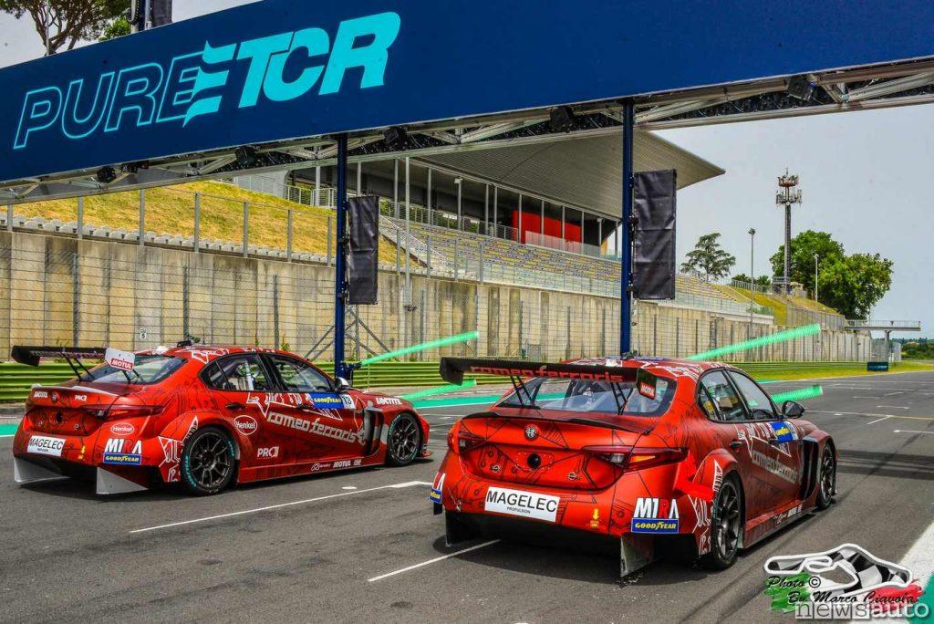 La Giulia ETCR in gara a Vallelunga con i piloti Oliver Webb (GBR), Rodrigo Baptista (BRA), Luca Filippi (ITA) e Stefano Coletti (MCA)