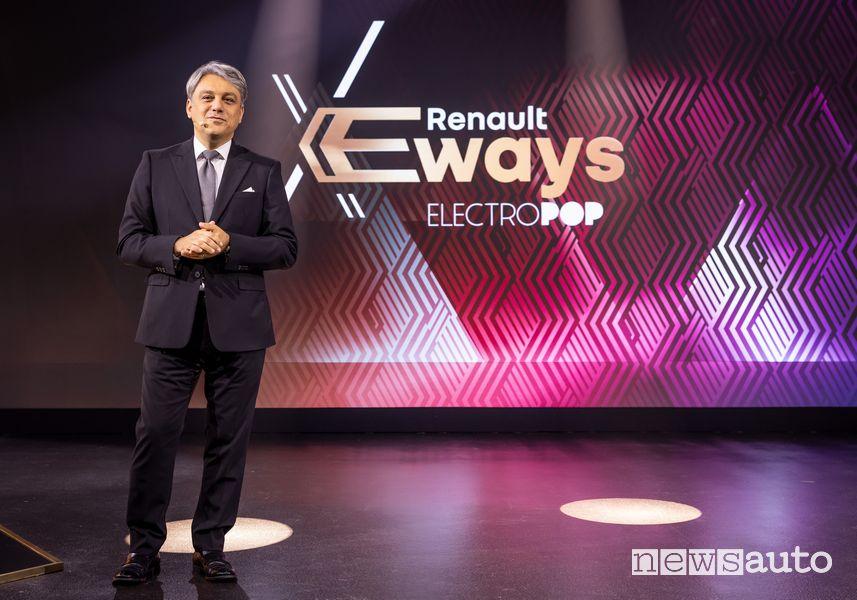 Luca de Meo, CEO del Gruppo Renault durante l'evento eWays ElectroPop