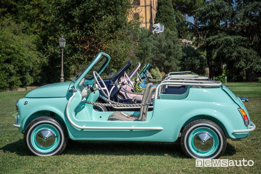 Vista laterale Fiat 500 Jolly Icon-e Spiaggina elettrica
