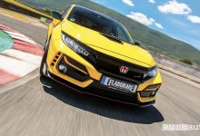 Vista frontale Honda Civic Type R Limited Edition test all'ISAM di Anagni