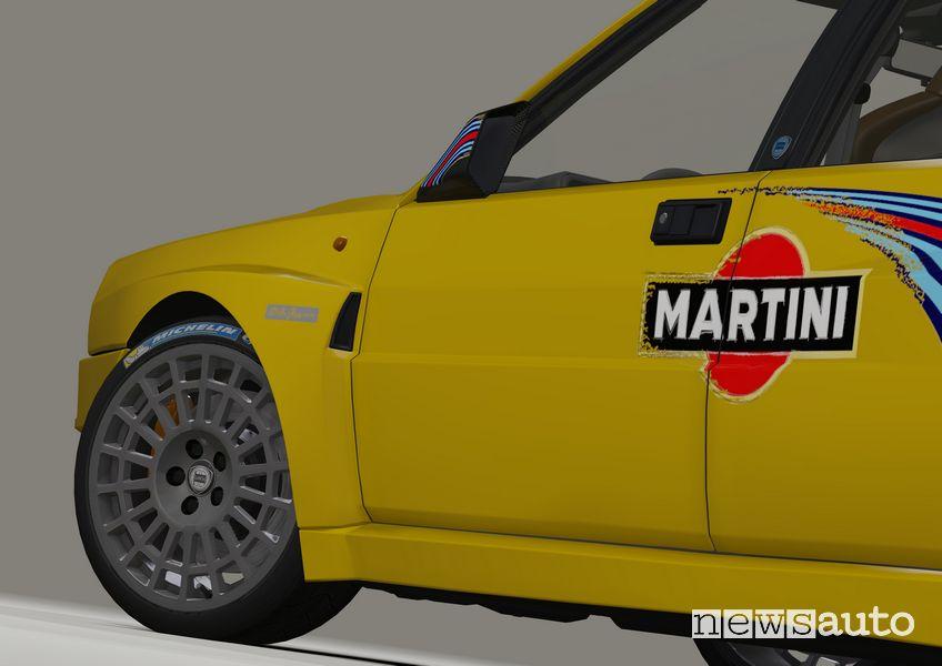 """Cerchi in lega da 18"""" Lancia Delta EVO 3 Miki Biasion livrea Martini gialla"""