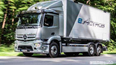 Vista di profilo Mercedes-Benz eActros elettrico su strada