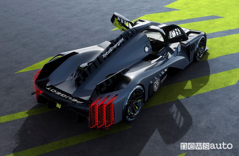 Vista posteriore Peugeot 9X8 Hypercar Le Mans