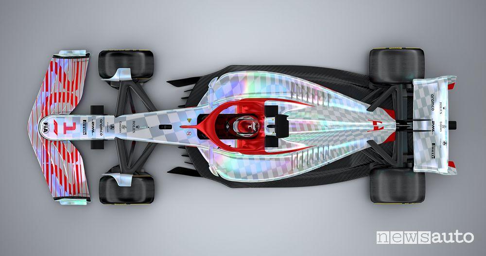 Vista dall'alto della nuova monoposto F1 2022