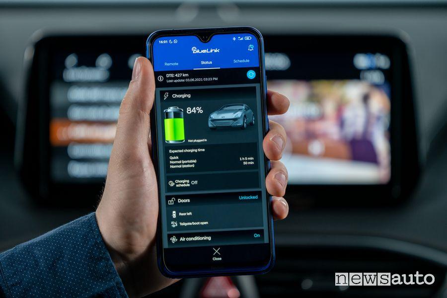 App blueLink infotainment nuova Hyundai Santa Fe Plug-In