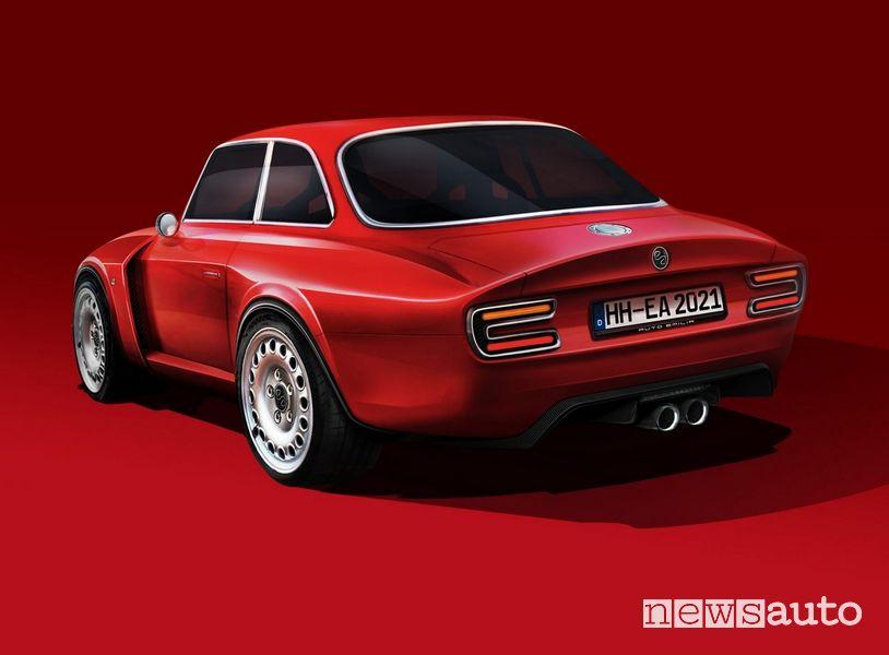 Vista posteriore Emilia GT Veloce restomod Giulia GTA