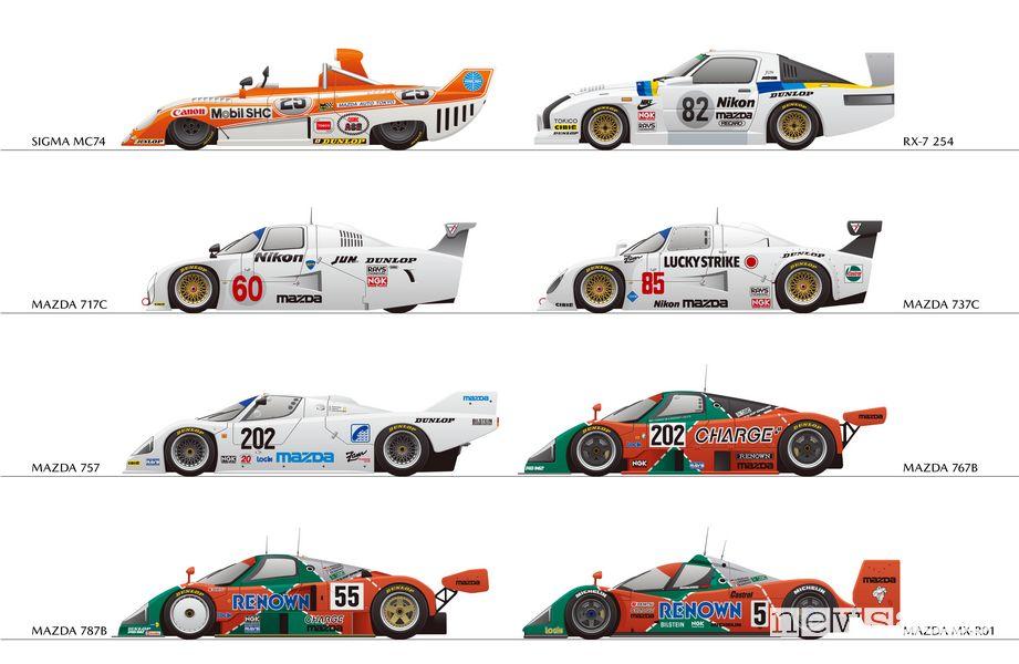auto da competizione Mazda che hanno partecipato alla 27 Ore di Le Mans