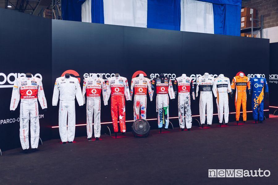 Tute storiche F1 McLaren nella sede Sparco di Volpiano