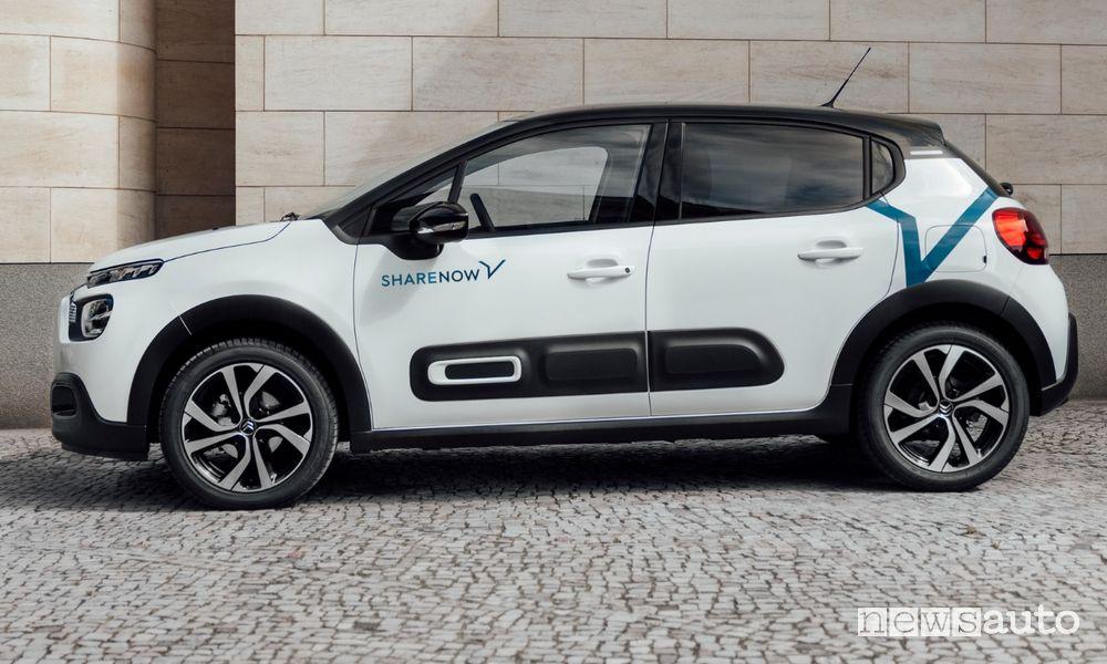 flotta di Share Now 1.200 nuove Citroën C3 car sharing