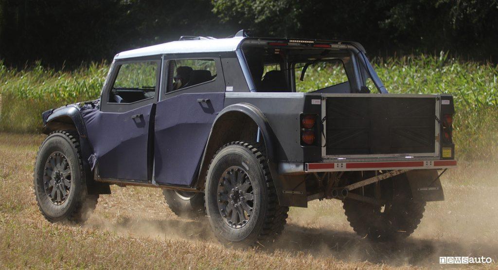 Fering Pioneer on dirt road, rear, electric off-road