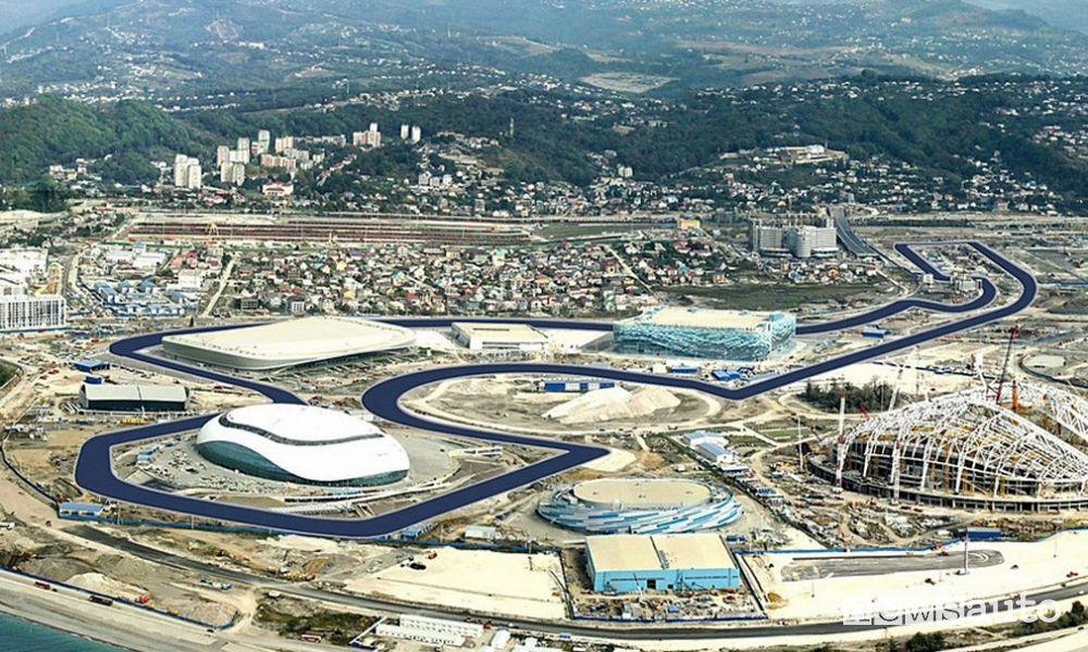 Vista dall'alto della pista di Sochi, all'interno del Parco Olimpico